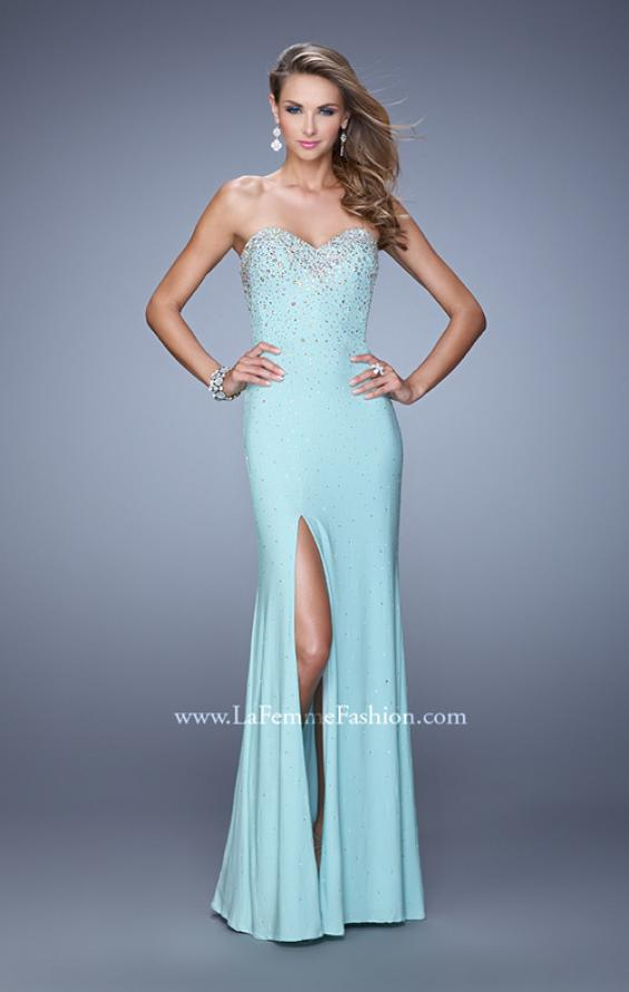 Picture of: Jersey Prom Dress Encrusted in Iridescent Jewels in Blue, Style: 20538, Detail Picture 2