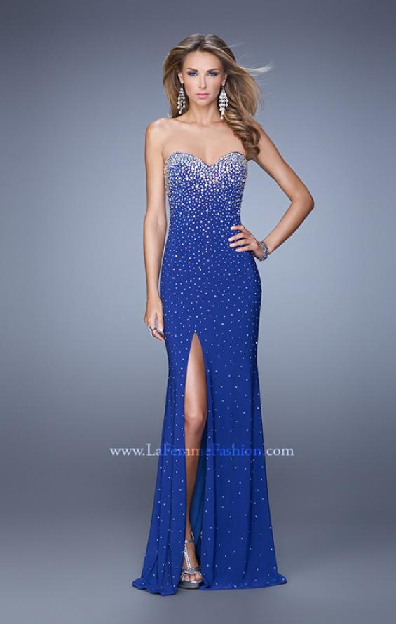 Picture of: Jersey Prom Dress Encrusted in Iridescent Jewels in Blue, Style: 20538, Detail Picture 3