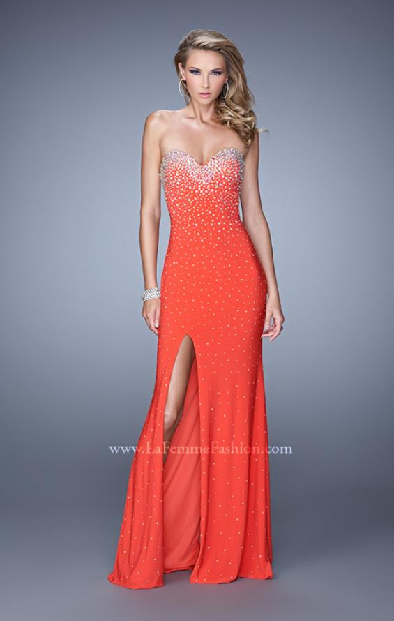 Picture of: Jersey Prom Dress Encrusted in Iridescent Jewels in Orange, Style: 20538, Detail Picture 4