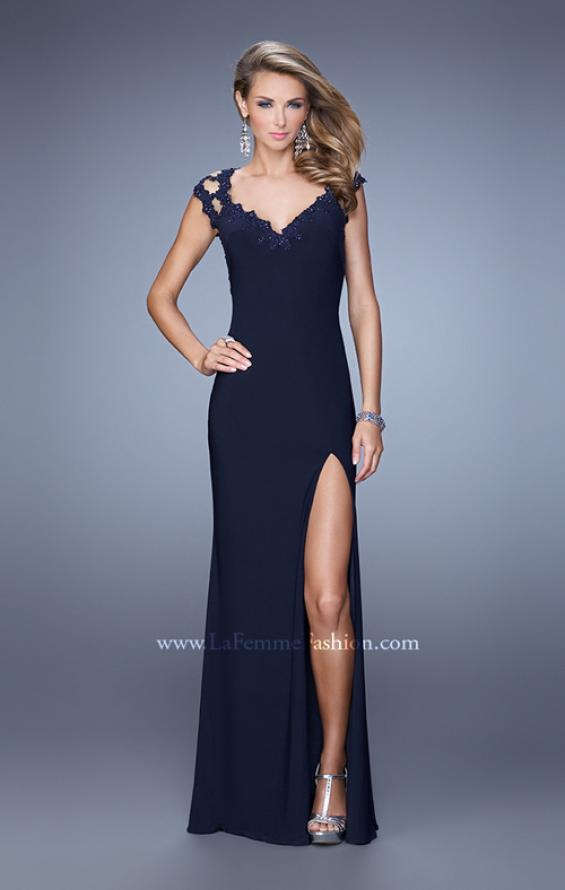 Picture of: Cap Sleeve Beaded Lace Long Jersey Prom Dress in Blue, Style: 20555, Detail Picture 3