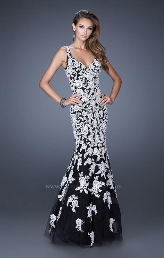 Picture of: Long V Neck Mermaid Prom Dress with Lace Appliques in White Black, Style: 20556, Main Picture