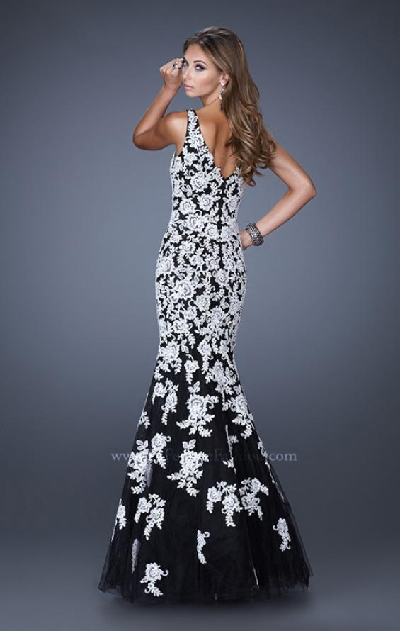 Picture of: Long V Neck Mermaid Prom Dress with Lace Appliques in White Black, Style: 20556, Back Picture
