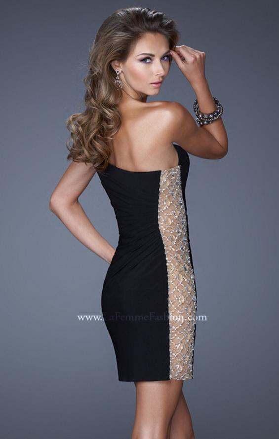 Picture of: One Strap Cocktail Dress with Unique Crystal Design in Black, Style: 20564, Back Picture