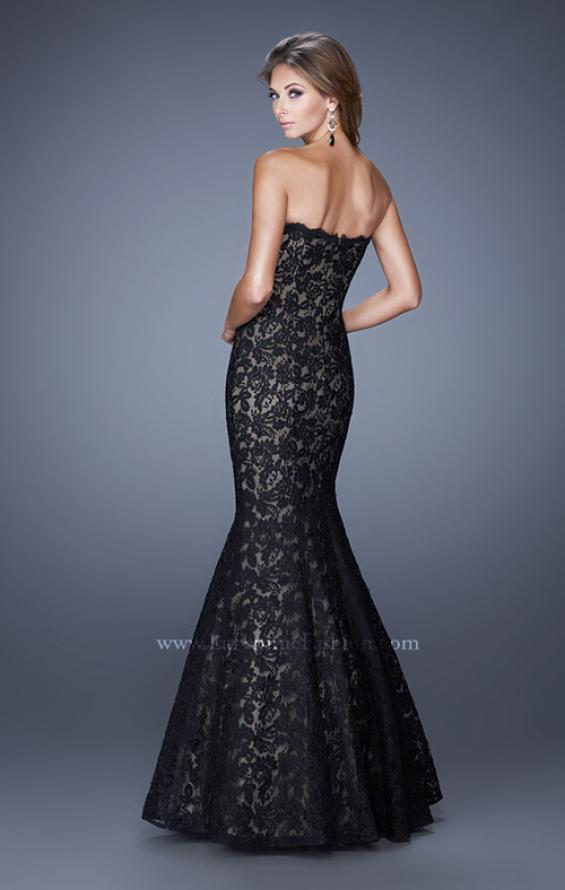 Picture of: Lace Mermaid Gown with Scalloped Lace Trim in Black, Style: 20570, Back Picture