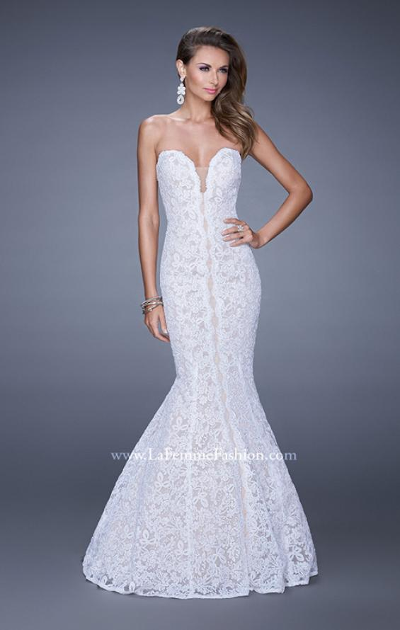 Picture of: Lace Mermaid Gown with Scalloped Lace Trim in White, Style: 20570, Detail Picture 3