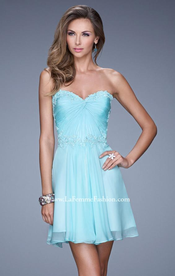 Picture of: Strapless Short Chiffon Dress with Front Gathering in Blue, Style: 20573, Main Picture