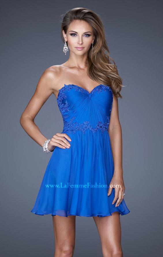 Picture of: Strapless Short Chiffon Dress with Front Gathering in Blue, Style: 20573, Detail Picture 1
