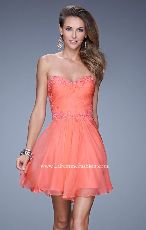 Picture of: Strapless Short Chiffon Dress with Front Gathering in Orange, Style: 20573, Detail Picture 2