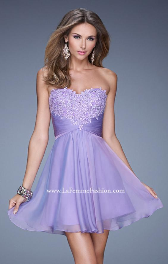Picture of: Lace and Chiffon Prom Dress with Shimmery Lace Detail, Style: 20574, Detail Picture 2