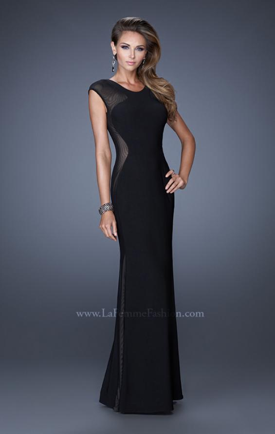 Picture of: Long Evening Dress with Cap Sleeves and Open Back, Style: 20579, Main Picture