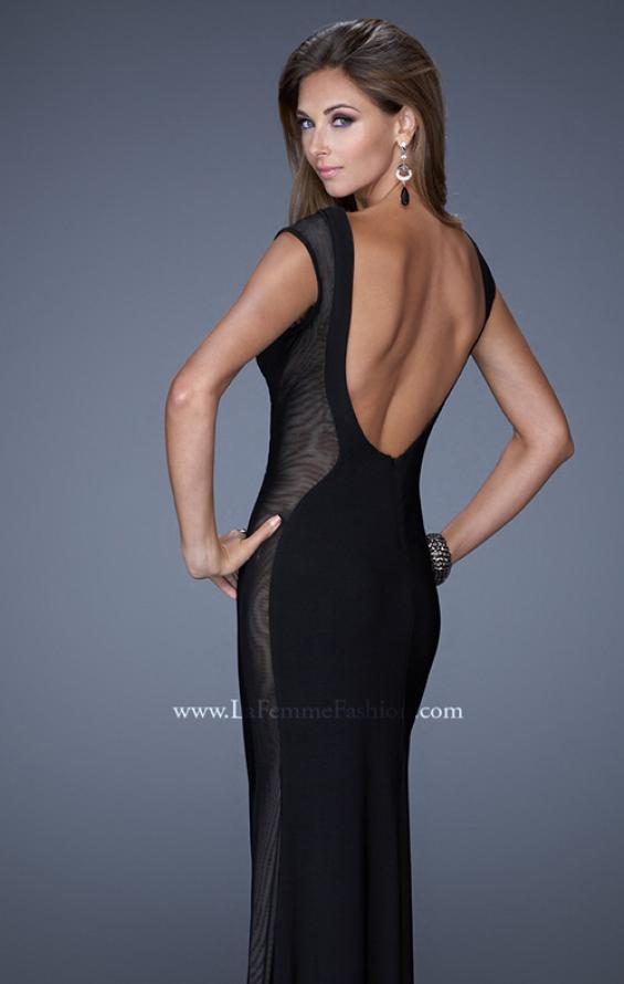 Picture of: Long Evening Dress with Cap Sleeves and Open Back, Style: 20579, Back Picture