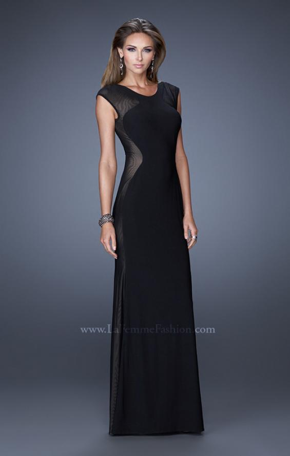 Picture of: Long Evening Dress with Cap Sleeves and Open Back, Style: 20579, Detail Picture 1