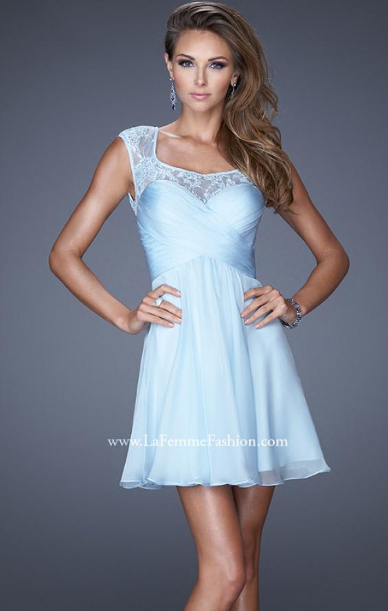 Picture of: Short Chiffon Prom Dress with Criss Cross Bodice in Blue, Style: 20581, Main Picture