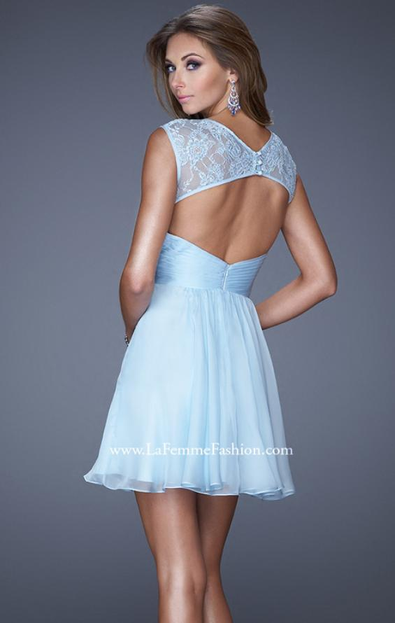 Picture of: Short Chiffon Prom Dress with Criss Cross Bodice in Blue, Style: 20581, Back Picture