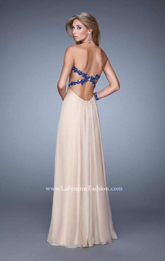 Picture of: Nude Chiffon Prom Gown with Contrasting Beaded Lace Top in Nude, Style: 20617, Back Picture