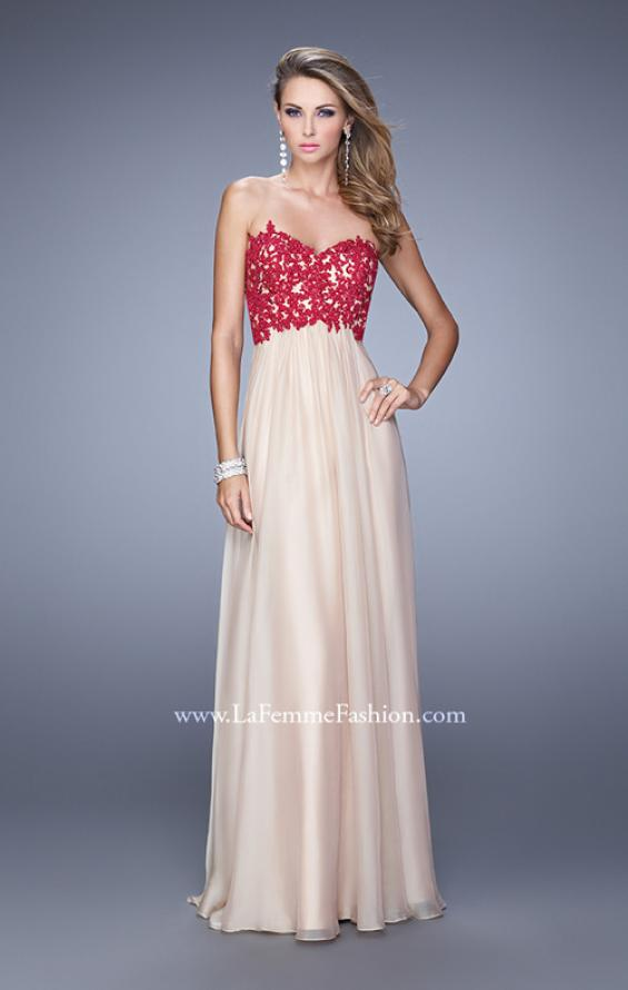 Picture of: Nude Chiffon Prom Gown with Contrasting Beaded Lace Top in Nude, Style: 20617, Detail Picture 1