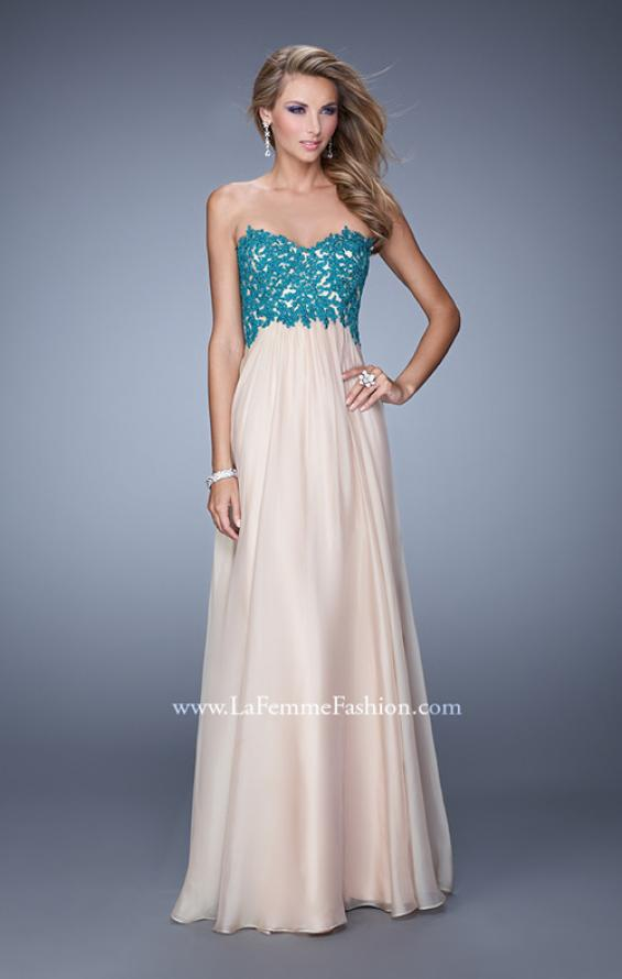 Picture of: Nude Chiffon Prom Gown with Contrasting Beaded Lace Top in Nude, Style: 20617, Detail Picture 2
