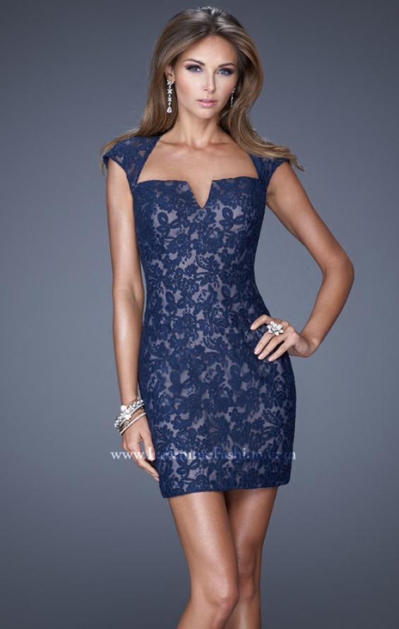 Picture of: V Neck Lace Cocktail Dress with Diamond Back in Blue, Style: 20621, Main Picture
