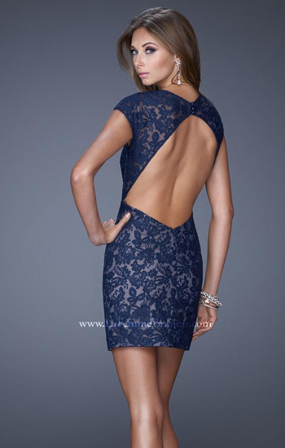 Picture of: V Neck Lace Cocktail Dress with Diamond Back in Blue, Style: 20621, Back Picture