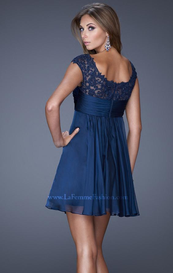 Picture of: Cap Sleeve Chiffon Short Dress with Gathering in Blue, Style: 20624, Back Picture