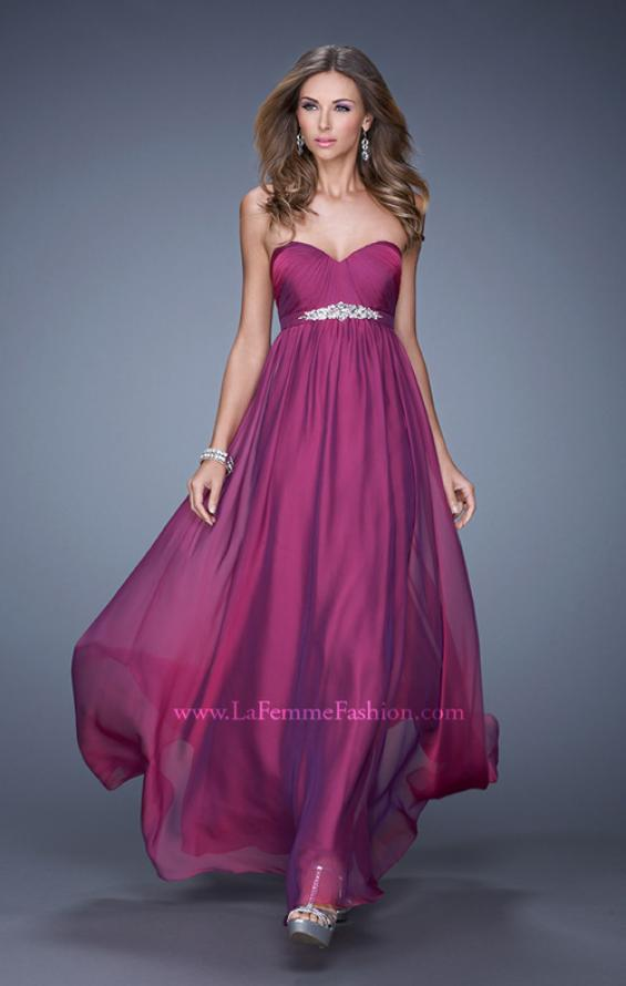 Picture of: Empire Waist Prom Gown with Gathered Bodice and Beads in Purple, Style: 20625, Main Picture
