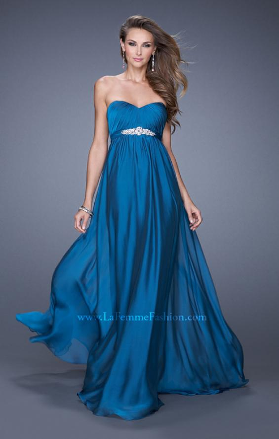 Picture of: Empire Waist Prom Gown with Gathered Bodice and Beads in Blue, Style: 20625, Detail Picture 1