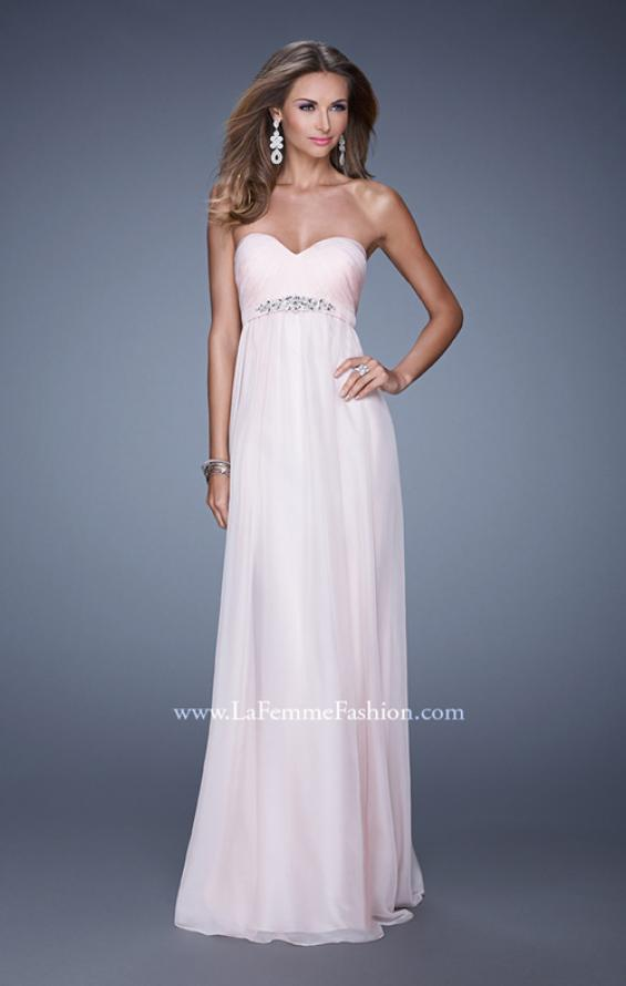 Picture of: Empire Waist Prom Gown with Gathered Bodice and Beads in Pink, Style: 20625, Detail Picture 3