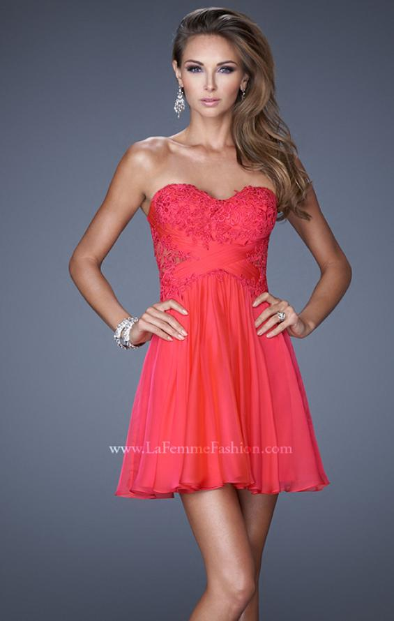 Picture of: Criss Cross Bodice Long Prom Dress with Lace in Pink, Style: 20632, Main Picture