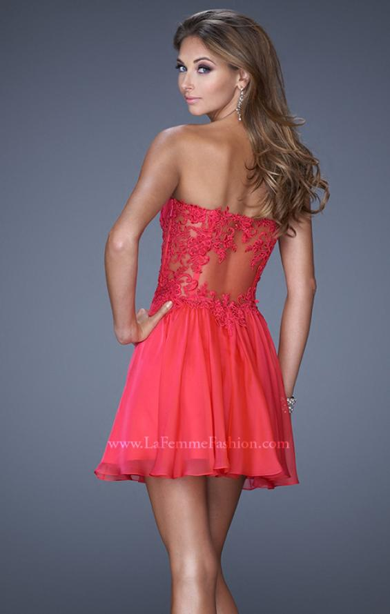 Picture of: Criss Cross Bodice Long Prom Dress with Lace in Pink, Style: 20632, Back Picture