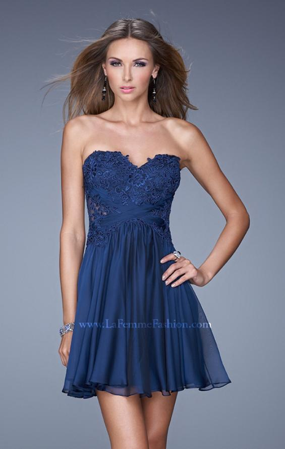 Picture of: Criss Cross Bodice Long Prom Dress with Lace in Blue, Style: 20632, Detail Picture 1