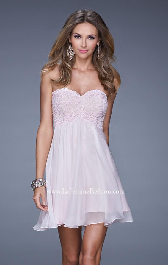 Picture of: Open Back Strapless Long Prom Gown with Lace Bodice, Style: 20633, Detail Picture 2