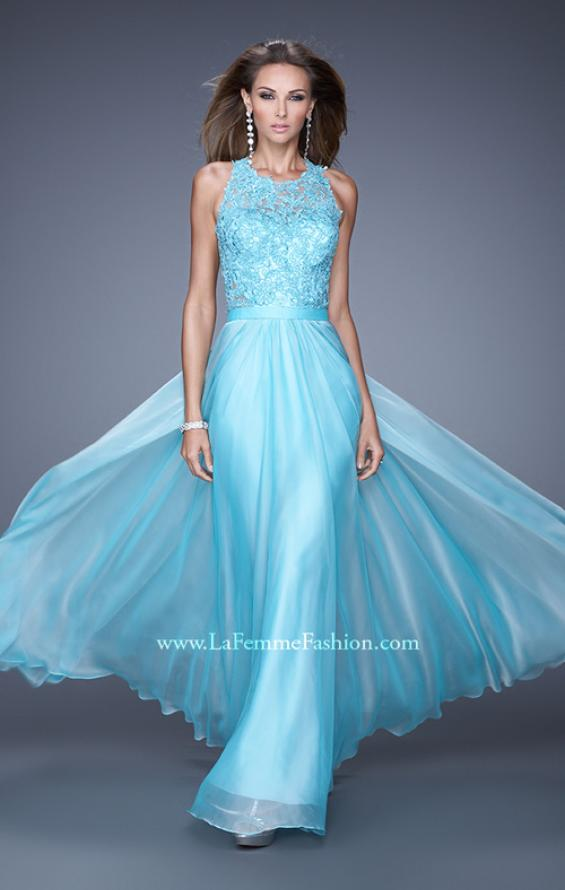 Picture of: Halter Jeweled Lace Chiffon Long Prom Dress, Style: 20638, Main Picture