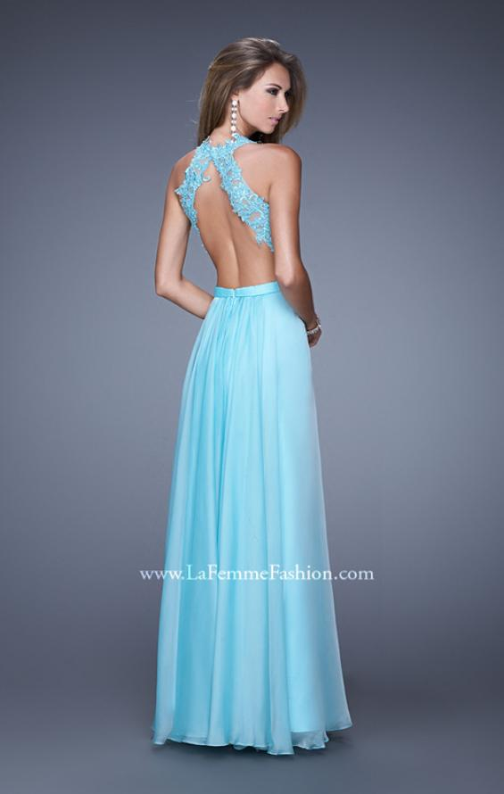 Picture of: Halter Jeweled Lace Chiffon Long Prom Dress, Style: 20638, Back Picture