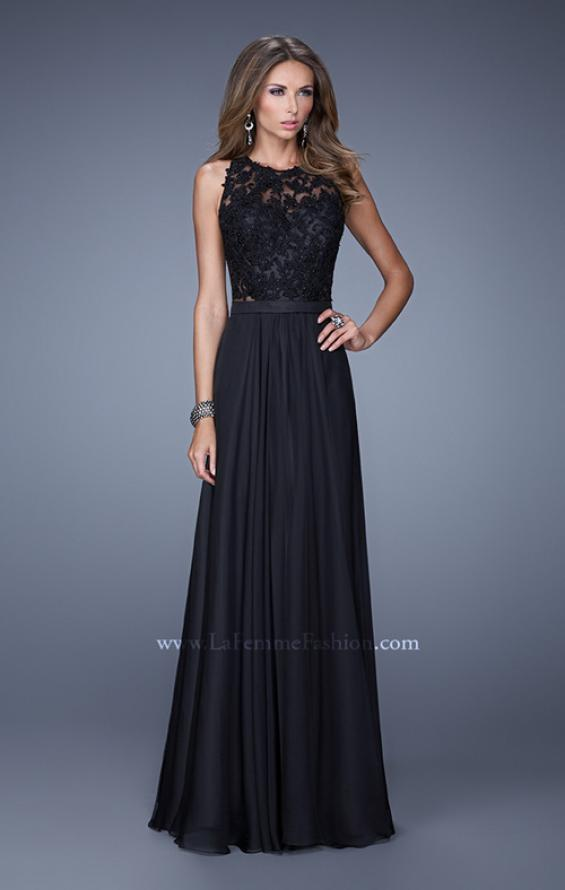 Picture of: Halter Jeweled Lace Chiffon Long Prom Dress, Style: 20638, Detail Picture 1