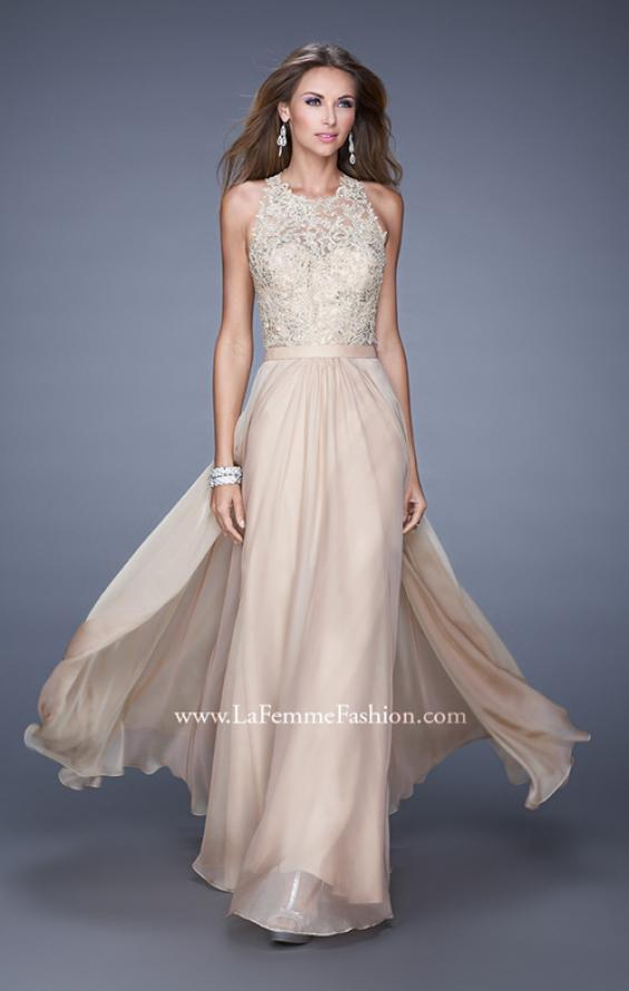 Picture of: Halter Jeweled Lace Chiffon Long Prom Dress, Style: 20638, Detail Picture 2