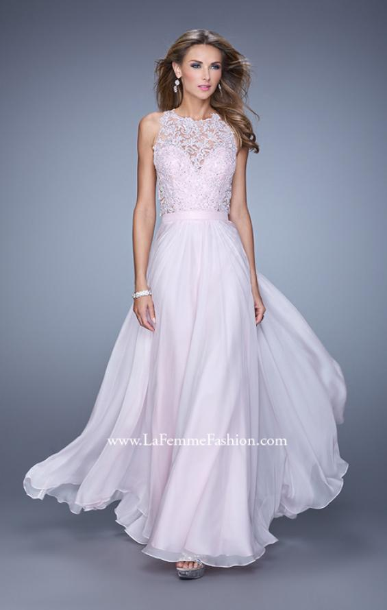 Picture of: Halter Jeweled Lace Chiffon Long Prom Dress, Style: 20638, Detail Picture 3