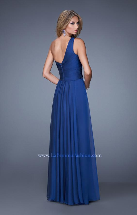 Picture of: Long One Shoulder Prom Gown with Criss Cross Bodice, Style: 20639, Back Picture