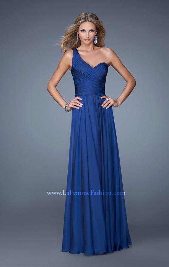 Picture of: Long One Shoulder Prom Gown with Criss Cross Bodice, Style: 20639, Detail Picture 3