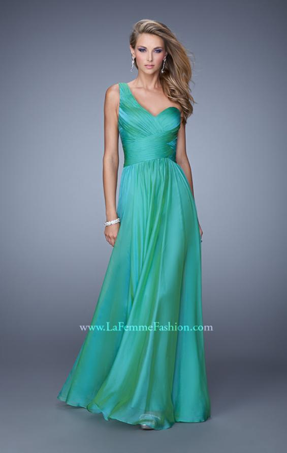Picture of: Long One Shoulder Prom Gown with Criss Cross Bodice, Style: 20639, Detail Picture 5