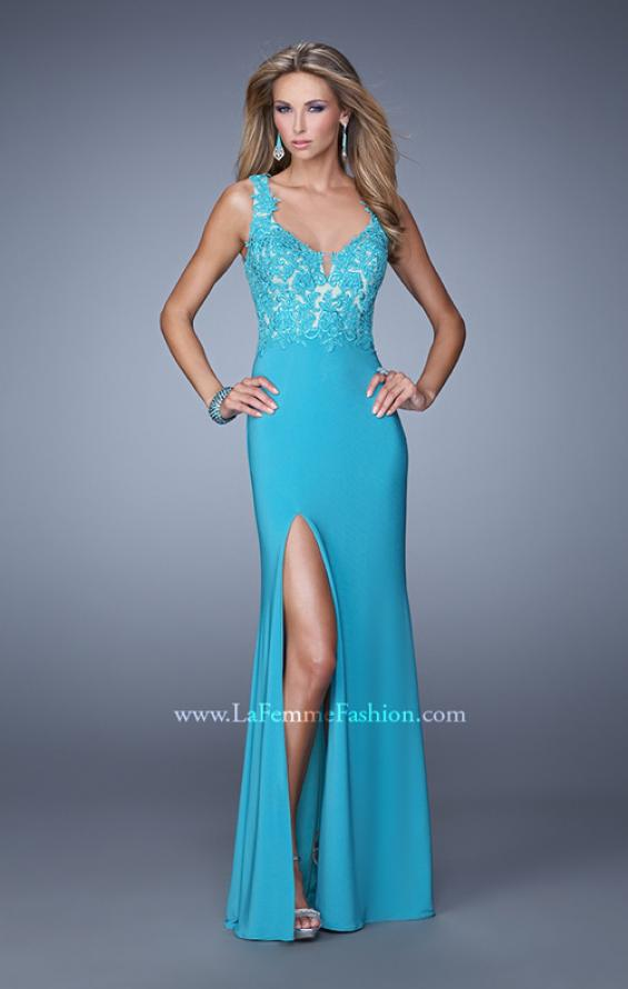 Picture of: Sleeveless Jersey Gown with Lace Bodice and Slit in Blue, Style: 20640, Detail Picture 1