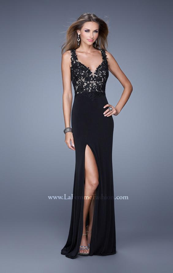 Picture of: Sleeveless Jersey Gown with Lace Bodice and Slit in Black, Style: 20640, Detail Picture 3