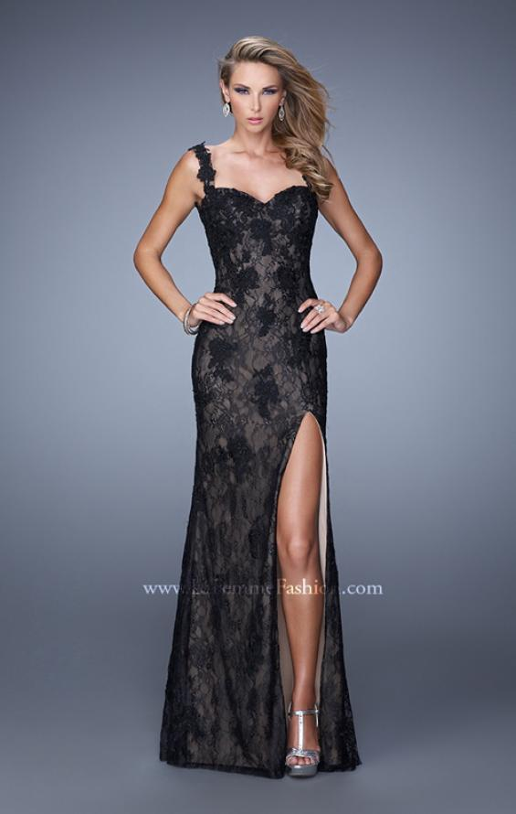 Picture of: Low V Back Sleeveless Lace Long Prom Gown in Black, Style: 20641, Main Picture