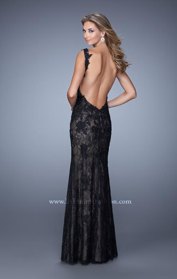 Picture of: Low V Back Sleeveless Lace Long Prom Gown in Black, Style: 20641, Back Picture