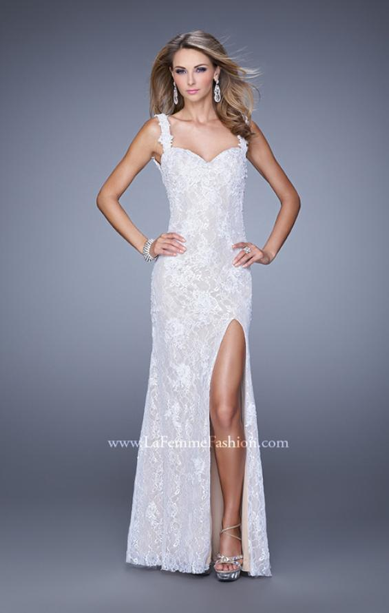 Picture of: Low V Back Sleeveless Lace Long Prom Gown in White, Style: 20641, Detail Picture 1
