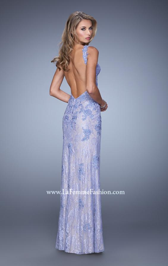 Picture of: Low V Back Sleeveless Lace Long Prom Gown in Blue, Style: 20641, Detail Picture 2