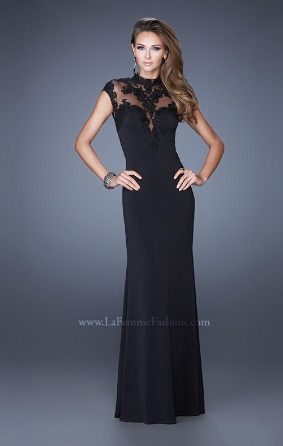 Picture of: High Neck and Cap Sleeve Jersey Prom Dress with Lace in Black, Style: 20650, Main Picture