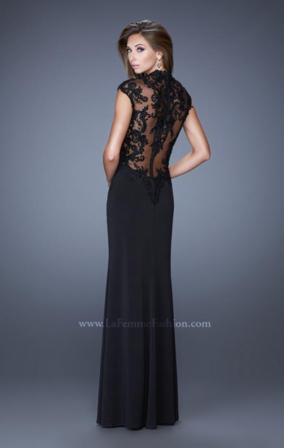Picture of: High Neck and Cap Sleeve Jersey Prom Dress with Lace in Black, Style: 20650, Back Picture