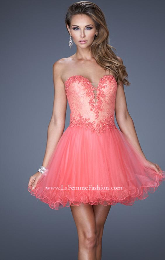 Picture of: Strapless Sweetheart Tulle Prom Dress with Lace Bodice in Pink, Style: 20656, Main Picture