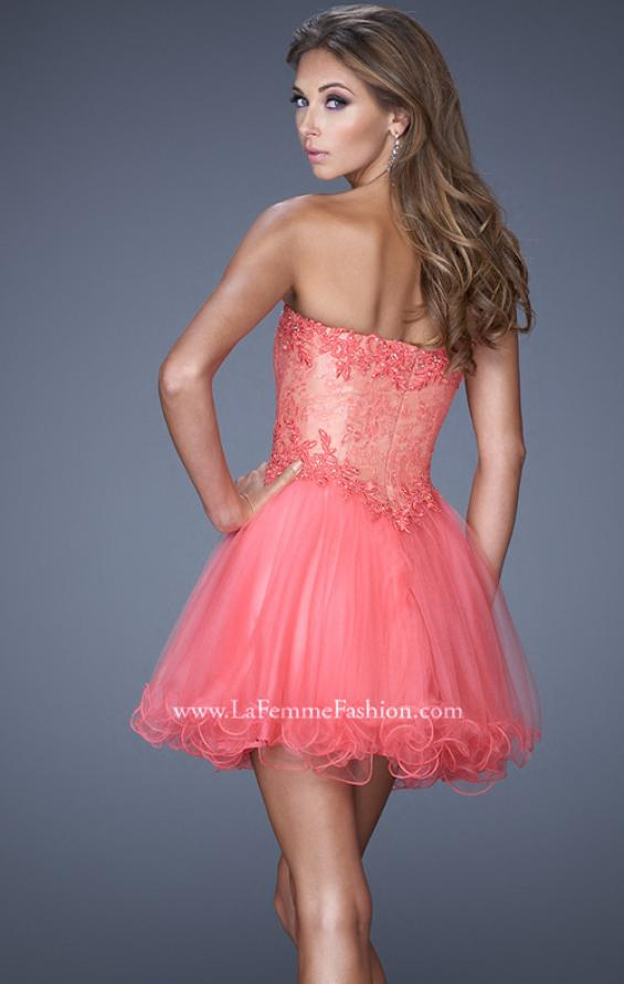 Picture of: Strapless Sweetheart Tulle Prom Dress with Lace Bodice in Pink, Style: 20656, Back Picture