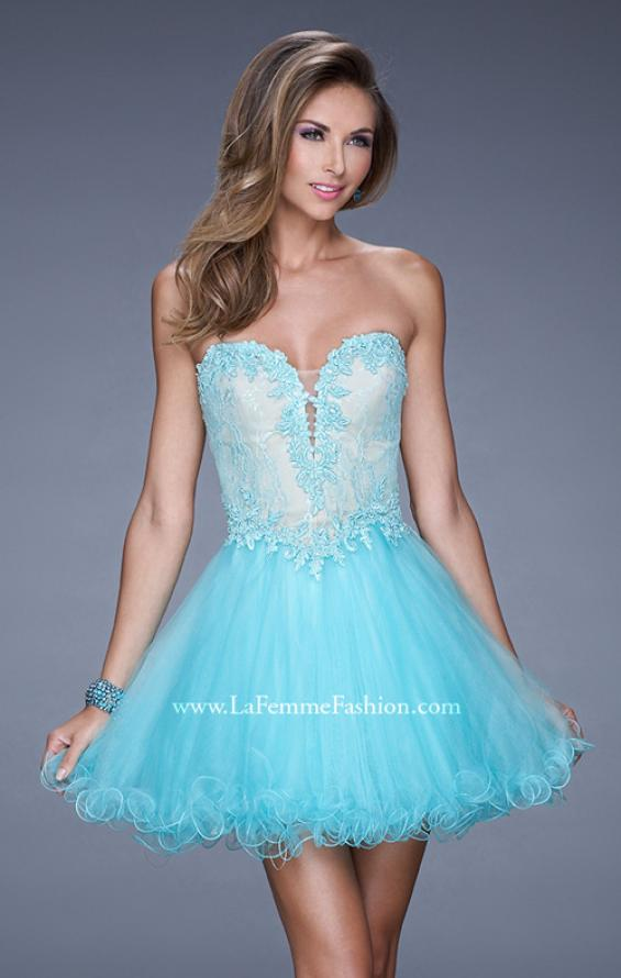 Picture of: Strapless Sweetheart Tulle Prom Dress with Lace Bodice in Blue, Style: 20656, Detail Picture 1